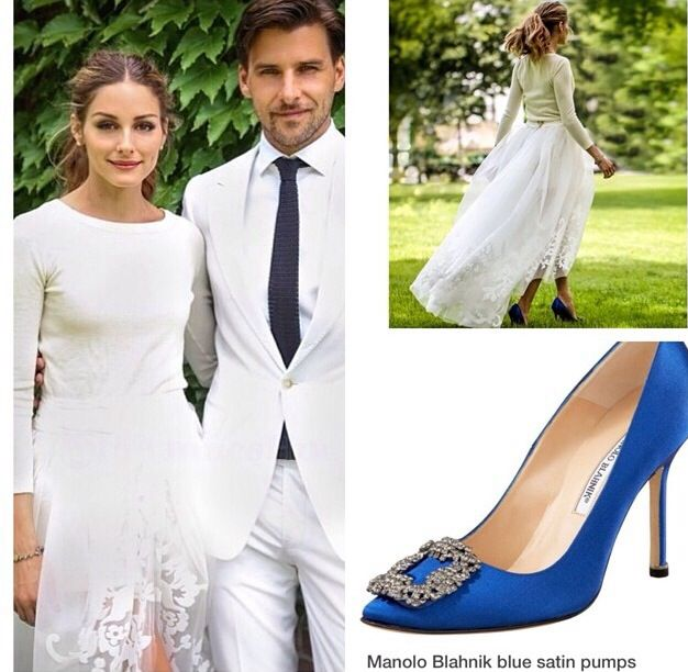 230ed83d6eefe5 Olivia Palermo wearing Manolo Blahnik satin pumps for her civil wedding