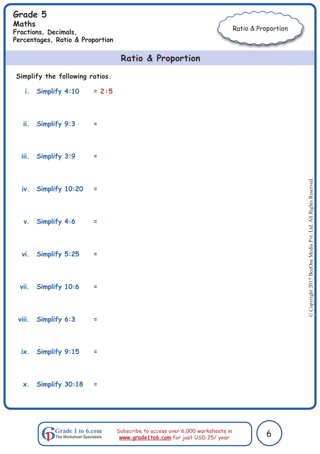 Worksheet Grade 5 Math Ratio & Proportion in 2020 Free