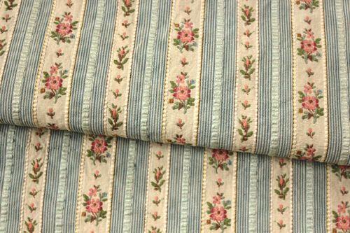 Vintage French Floral Stripe Satin Lisere Brocade Jacquard Fabric ~ Rose Green