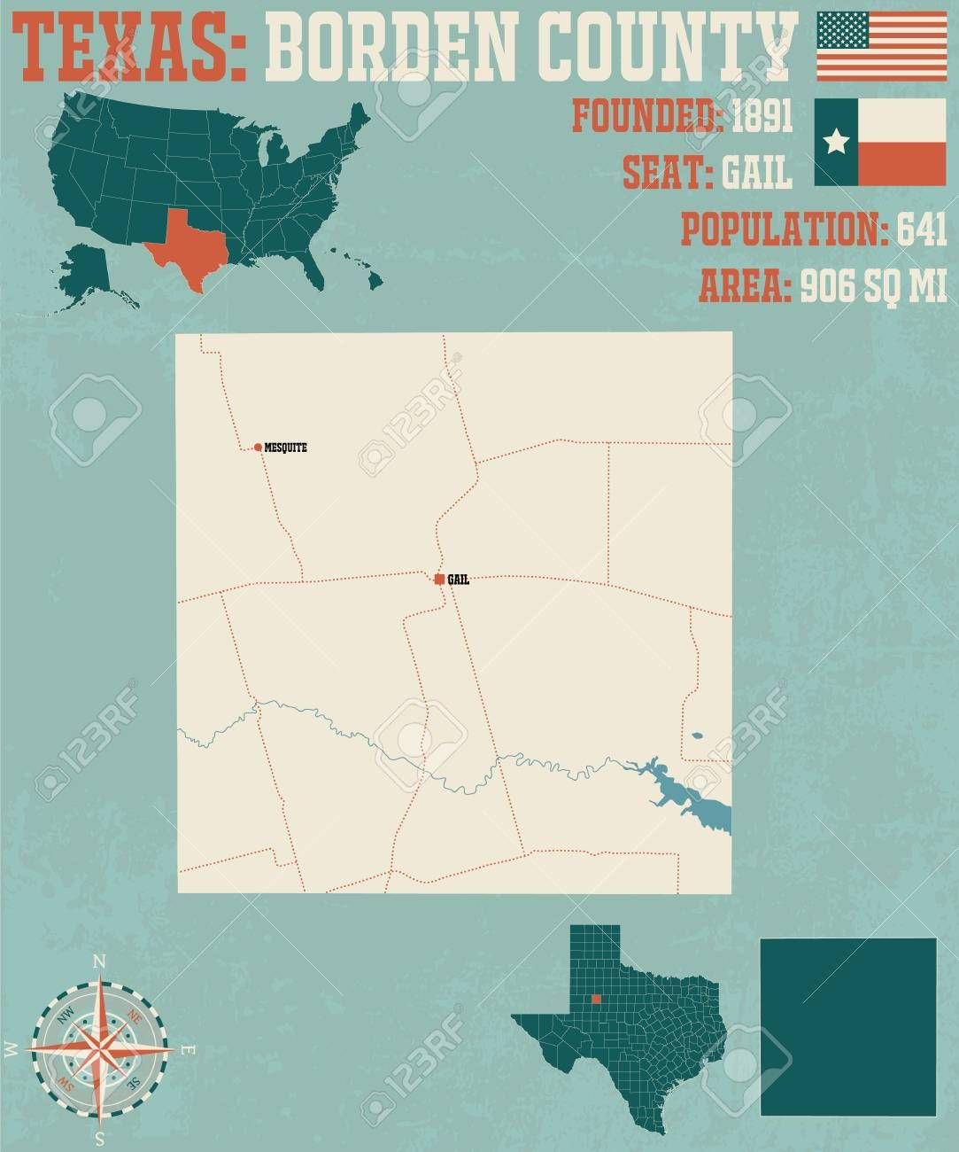 Detailed map of borden county in texas united states