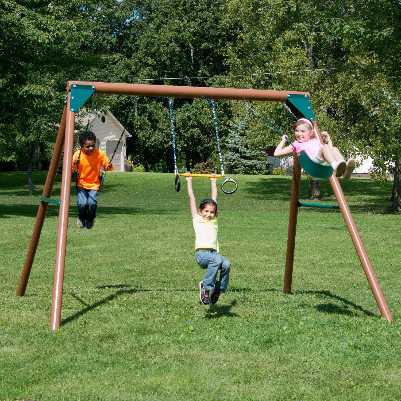 Robot Check Swing And Slide Backyard For Kids Wooden Swing Set