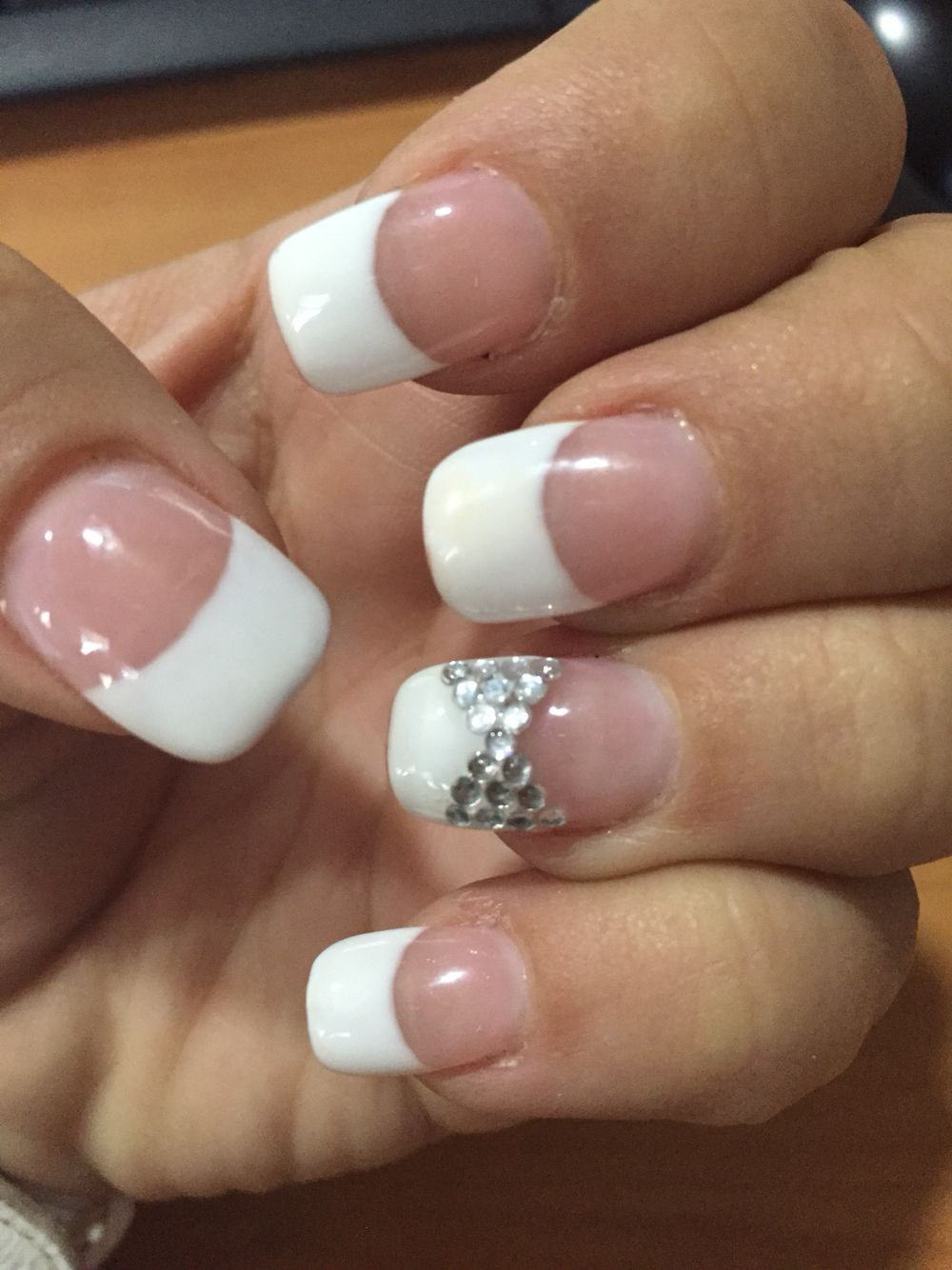French Manicure With Accent Nail Rhinestone Design French Acrylic Nail Designs French Acrylic Nails French Manicure Nails