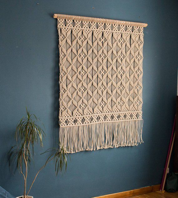This woven wall hanging is pure beauty. This large macrame wall hanging was love at the first sight. I really like the texture of this wall tapestry for the feeling of the cotton rope and rhythm of the knots. Its simple pattern is about balance and beauty. Inspiration to make
