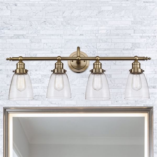 sale retailer 04de9 bec52 Shop Bel Air Lighting 4-Light Soft Tone Gold Bell Vanity ...
