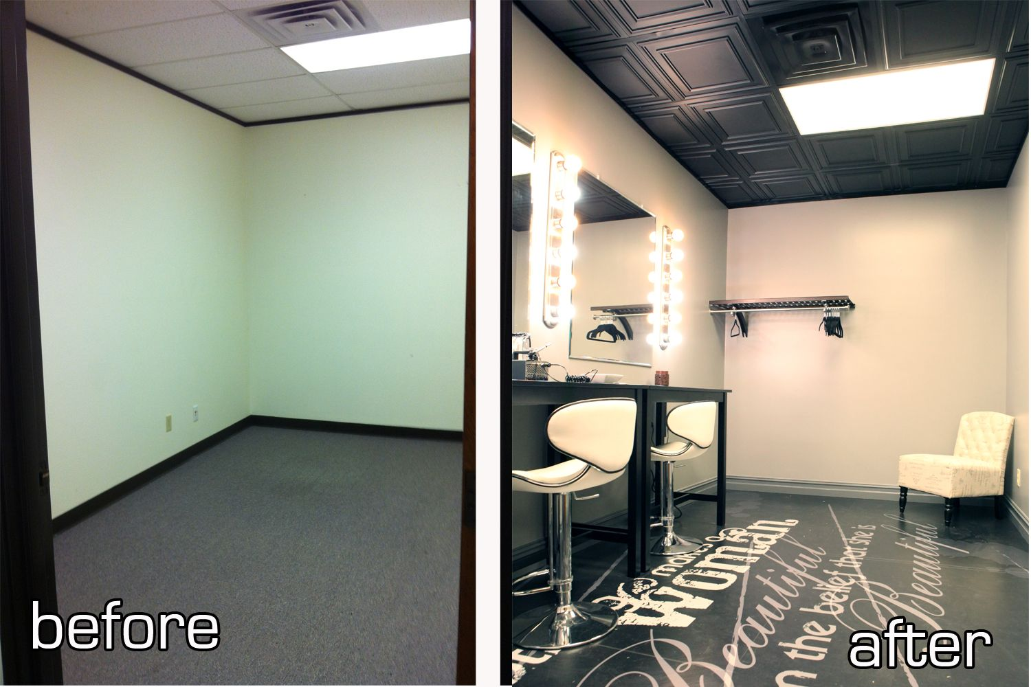 Photography studio dressing room vanity vinyl wrapped floors ceilume ceiling tiles instead of the drop ceiling tiles preferably in white doublecrazyfo Gallery