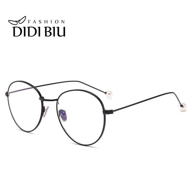 6ba2a864f2504 DIDI Small Round Clear Eyeglass Frame Pearl Rose Gold Retro Thin Metal  Compute Glasses Frame Accessory