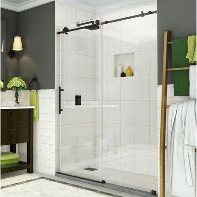 Aston Coraline 56 60 X 76 Single Sliding Frameless Shower Door Glass Type Clear In 2020 Shower Doors Frameless Shower Doors Bathtub Doors