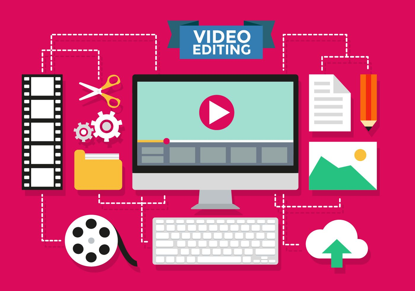 Video Editing Infographic Vector Template Video editing