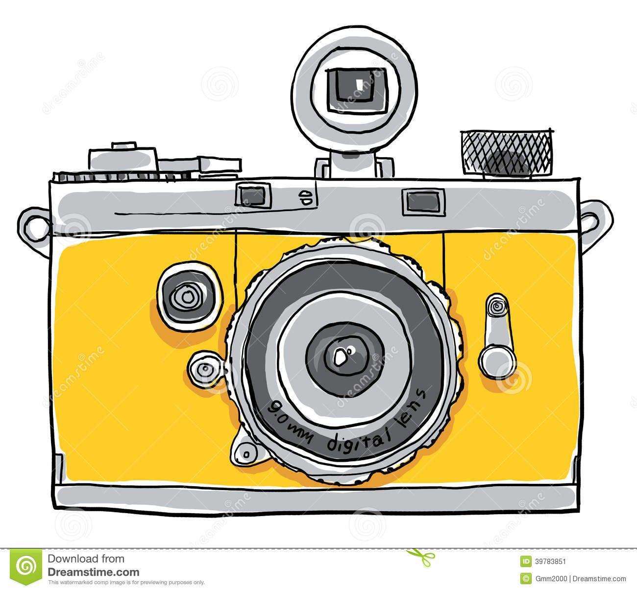 Yellow Camera Vintage Painting Line Art Stock Illustration - Image ...