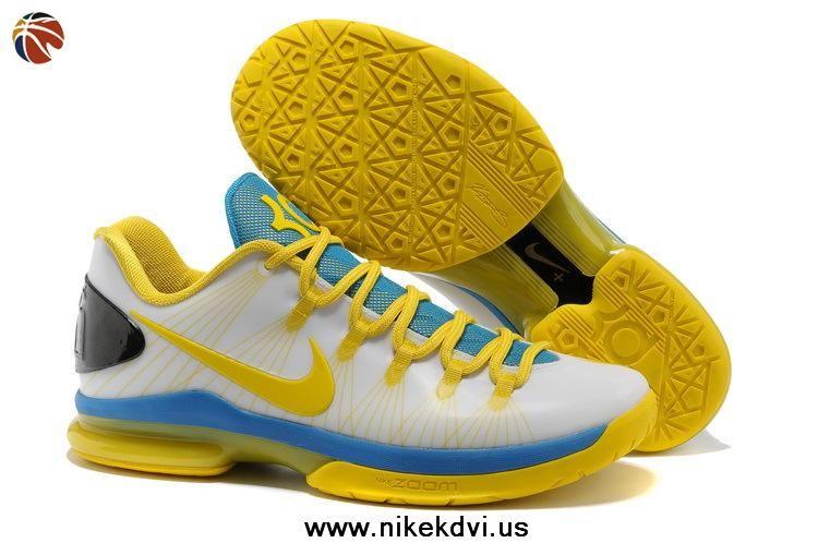 Nike KD 5 (V) Elite Low White Tour Yellow-Photo Blue 585386-100