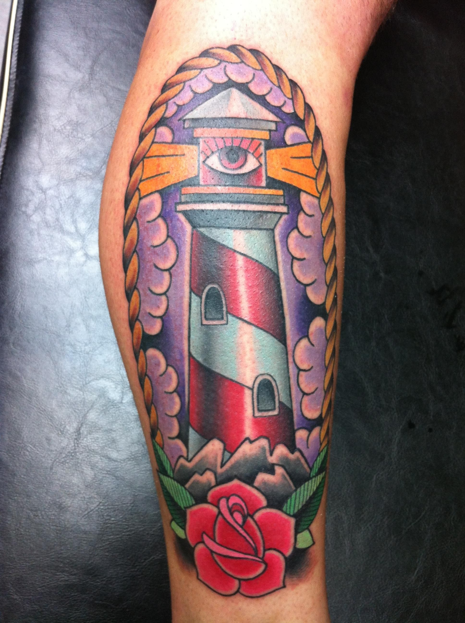 16a94397b337f Traditional lighthouse with all-seeing eye by Jeff Ensminger at Resurrection  Tattoo; Austin, TX.