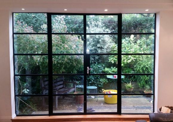 Crittal Doors With A Panel Each Side Crittal Windows Aluminium French Doors Steel Doors And Windows