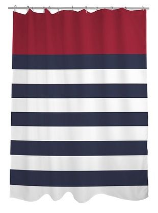 43 OFF One Bella Casa Nautical Stripes Shower Curtain Red Navy White