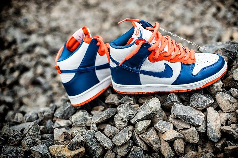 orange and blue hightop nike dunks