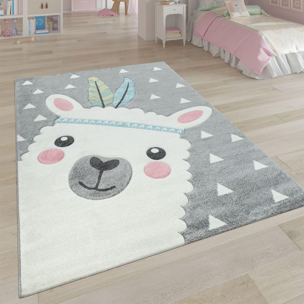 Teppich Kinderzimmer grau 3DMotiv Alpaka Design