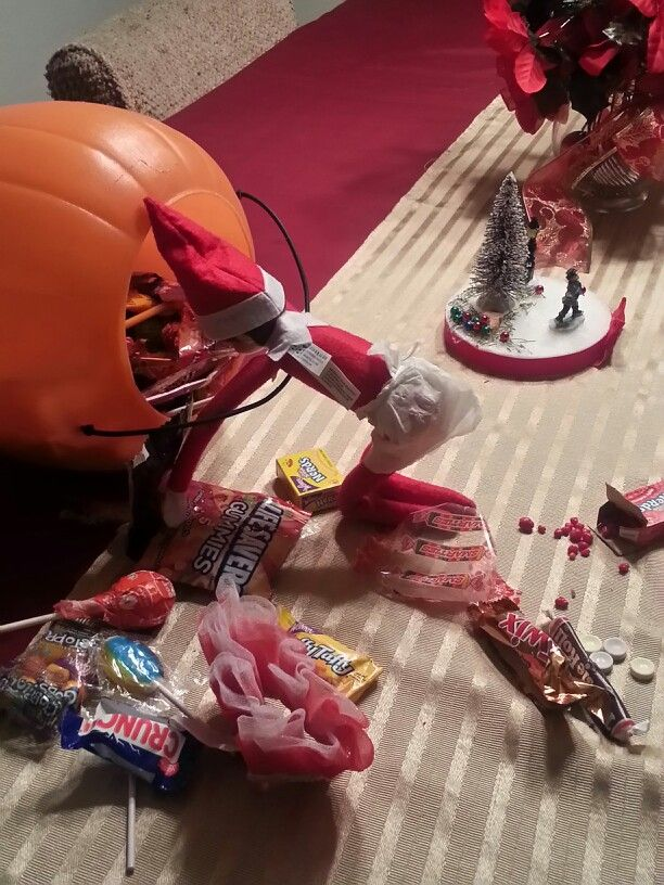 Elf in the shelf caught stealing candy.