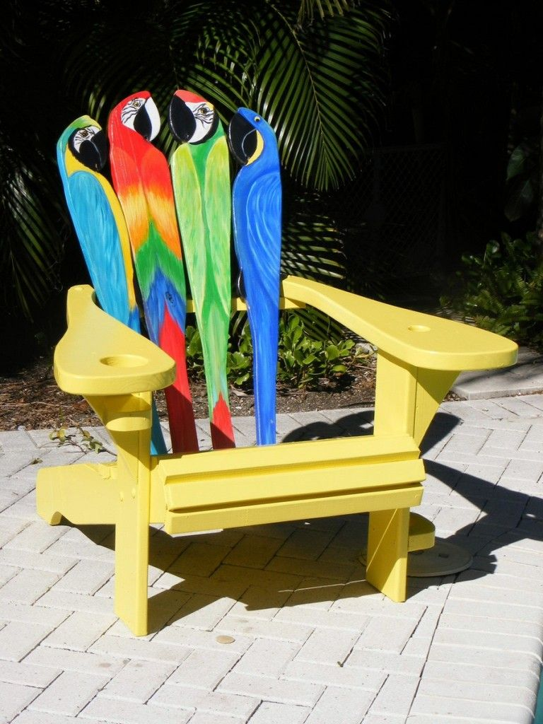 Adirondack chair back slats - A One Of A Kind Parrot Design Adirondack Chair Featuring A Curved Back