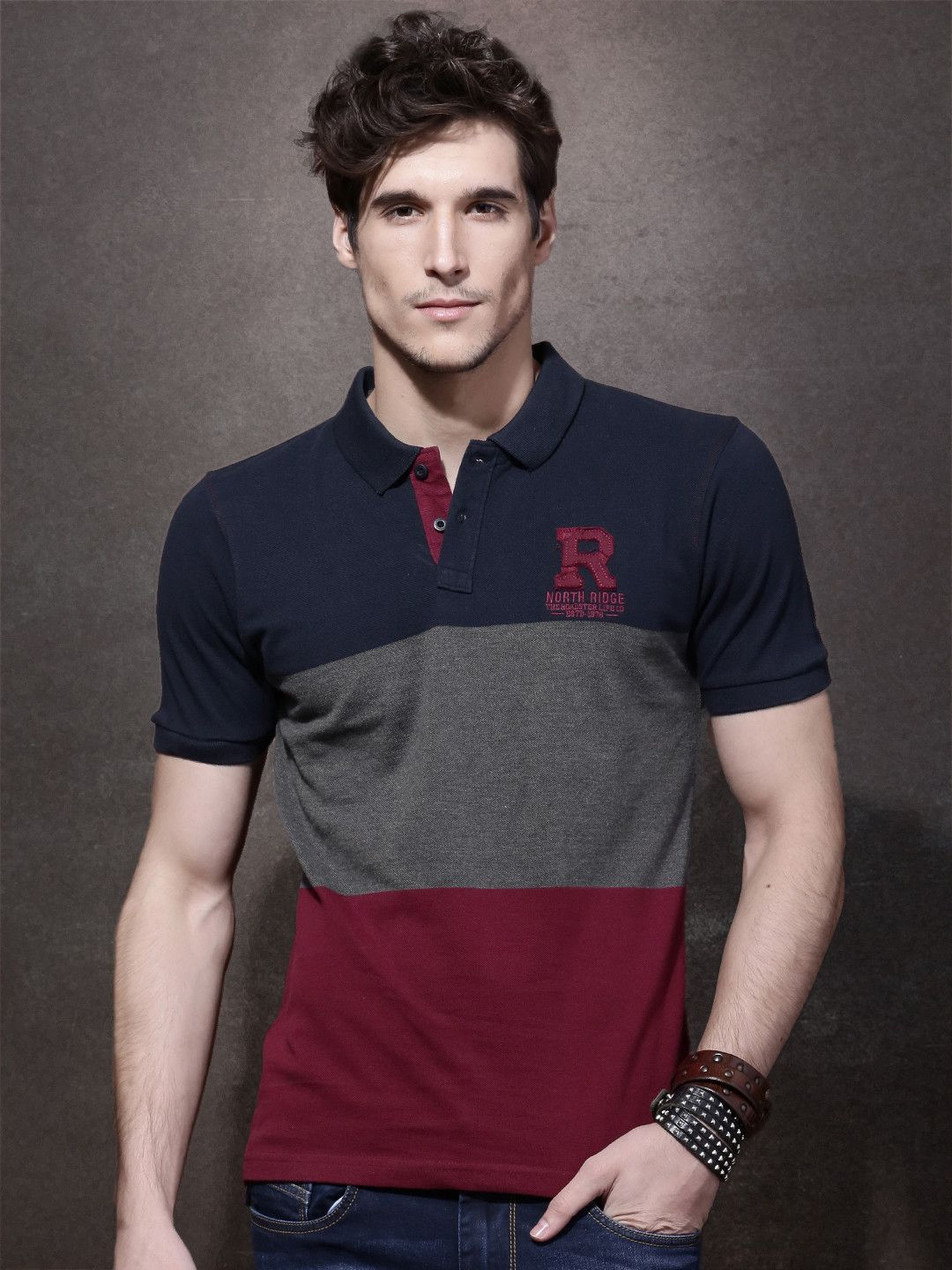 08291092 Roadster Navy Blue Colour Blocked Polo Collar T-Shirt | Men's T ...