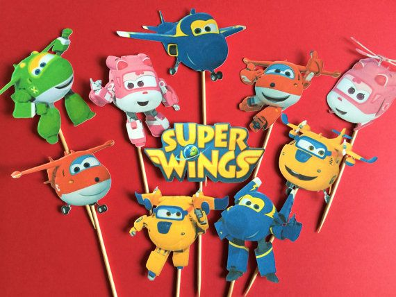 Super Wings Cupcake Toppers Airplane Toppers Helicopter