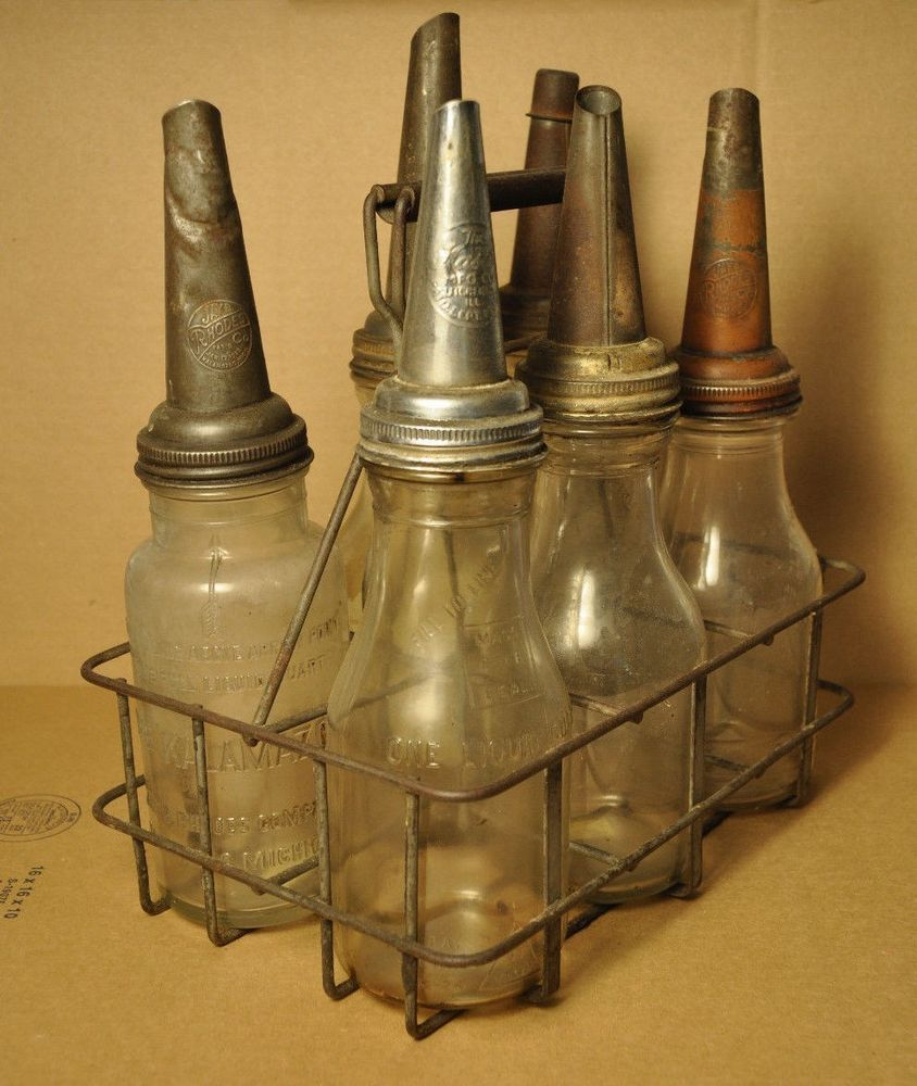 Details about 6 Glass Oil Bottles With Cone Caps and Wire Carrier