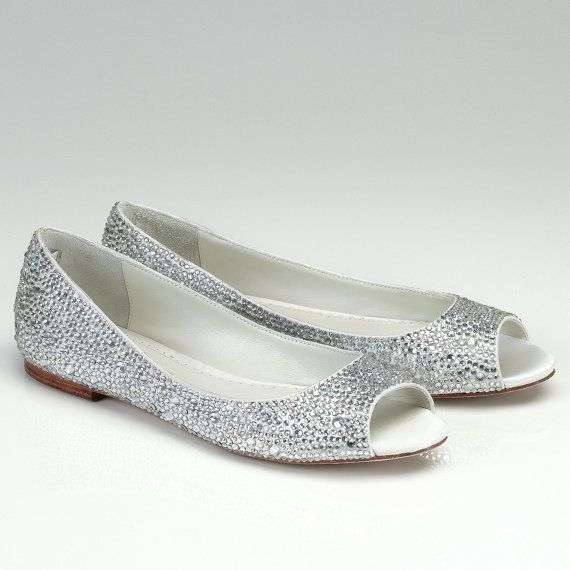 Flat Wedding Shoes Open Toes Silk Bridal By Pink2blue 249 00