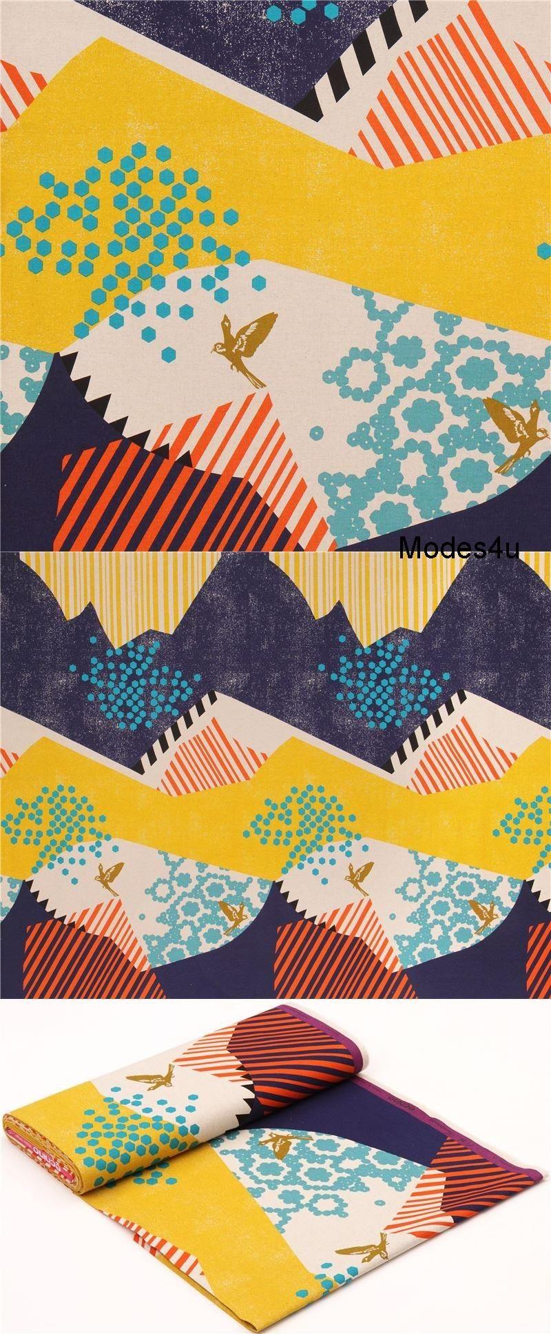 Echino Landscape Canvas Stoff Gelb Marineblau Aus Japan Vogel