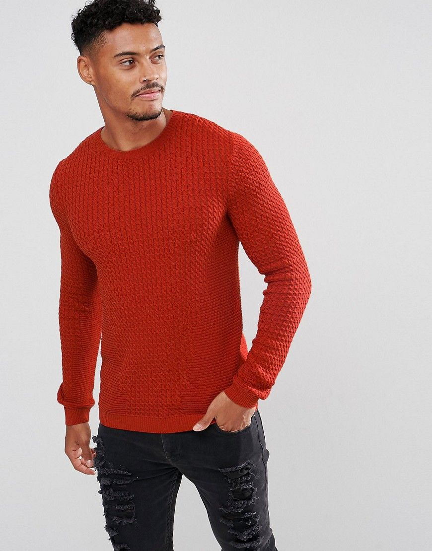 afdfcec2 ASOS Muscle Fit Cable Knit Sweater In Rustic Copper - Orange ...