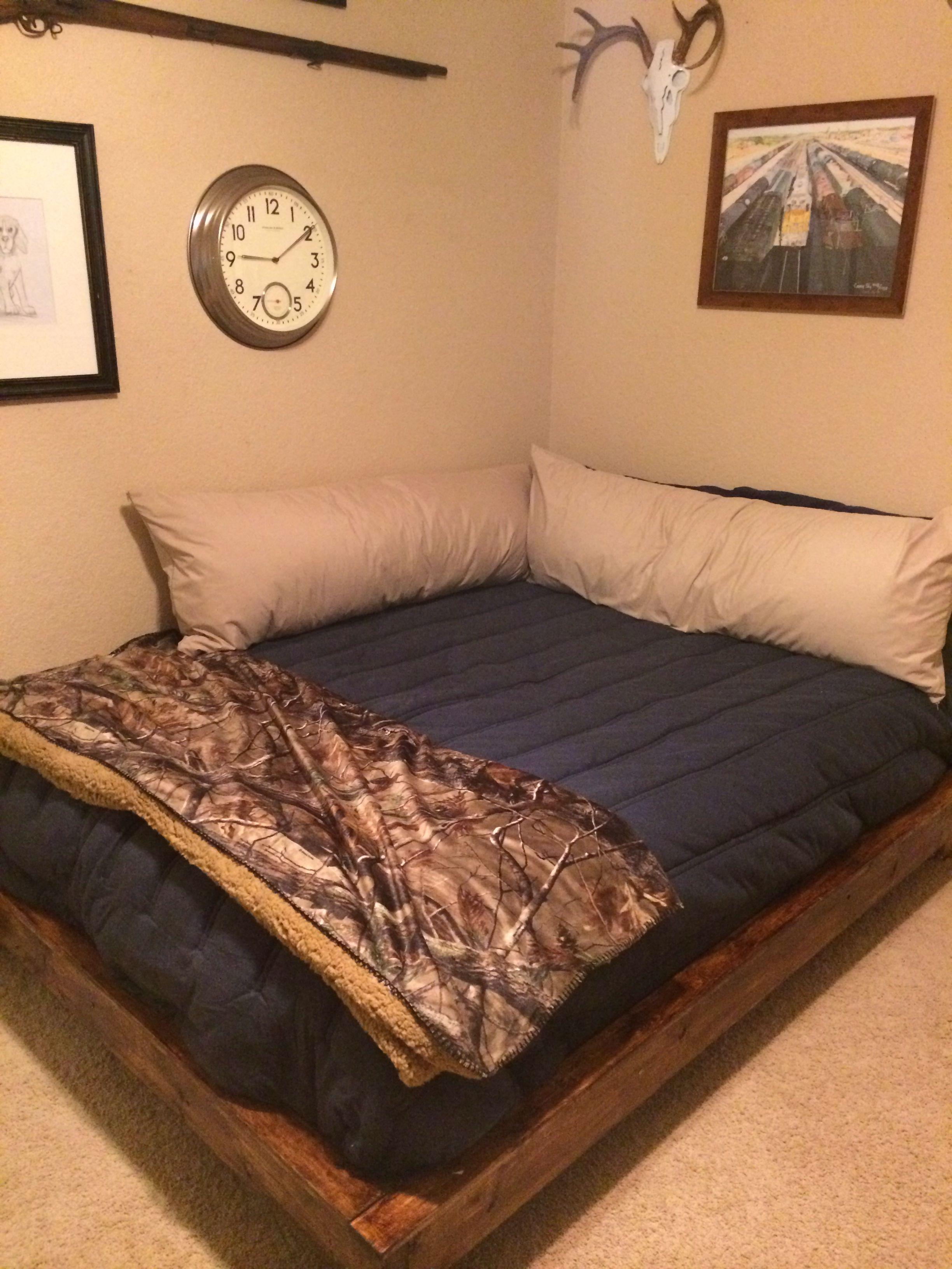 Teenage boy bedroom i made platform frame for designed like a