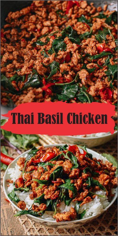 Dieses Thai-Basilikum-Hühnchen-Rezept benötigt nur 3 Minuten für die Zubereitung und 7 Minuten für die Zubereitung. - New Ideas #chickenrecipes