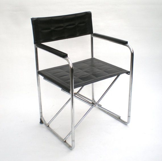 Surprising Vintage Leather Chrome Utida X Folding Chair Vintage Pabps2019 Chair Design Images Pabps2019Com