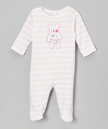 Take a look at this Pink Stripe 'I Love You' Footie - Infant by Absorba on #zulily today!