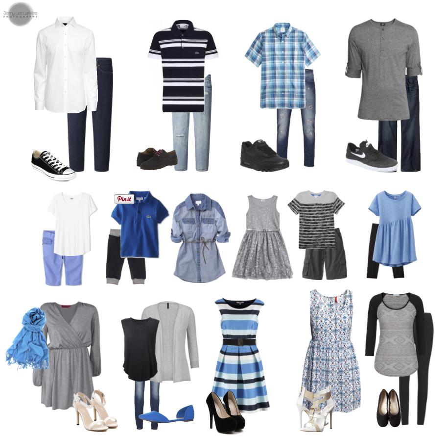 Vêtements de Famille - Grande Famille - Noir, Gris, Blanc avec Accent de Bleu.