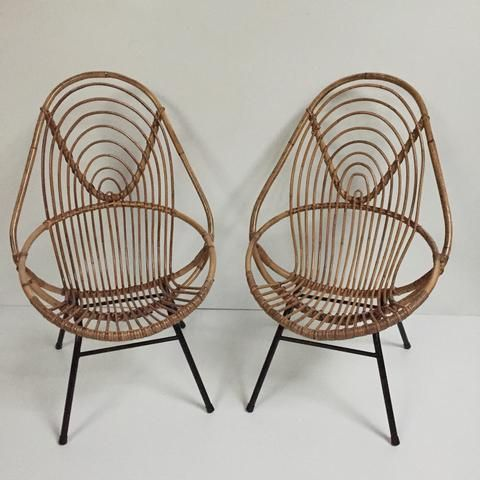 1960s vintage rohe rattan tall wicker chair metal feet fauteuil