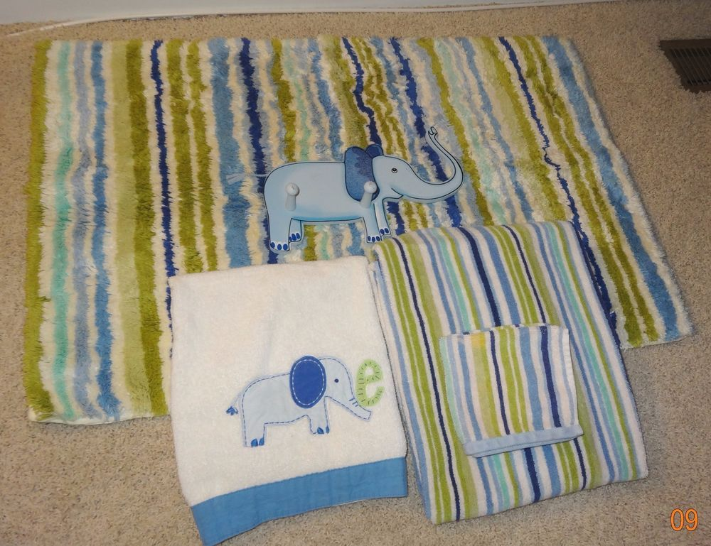 Bathroom Set Pottery Barn Kids Boys Elephant Striped Towels Wall Hangar ~ KH