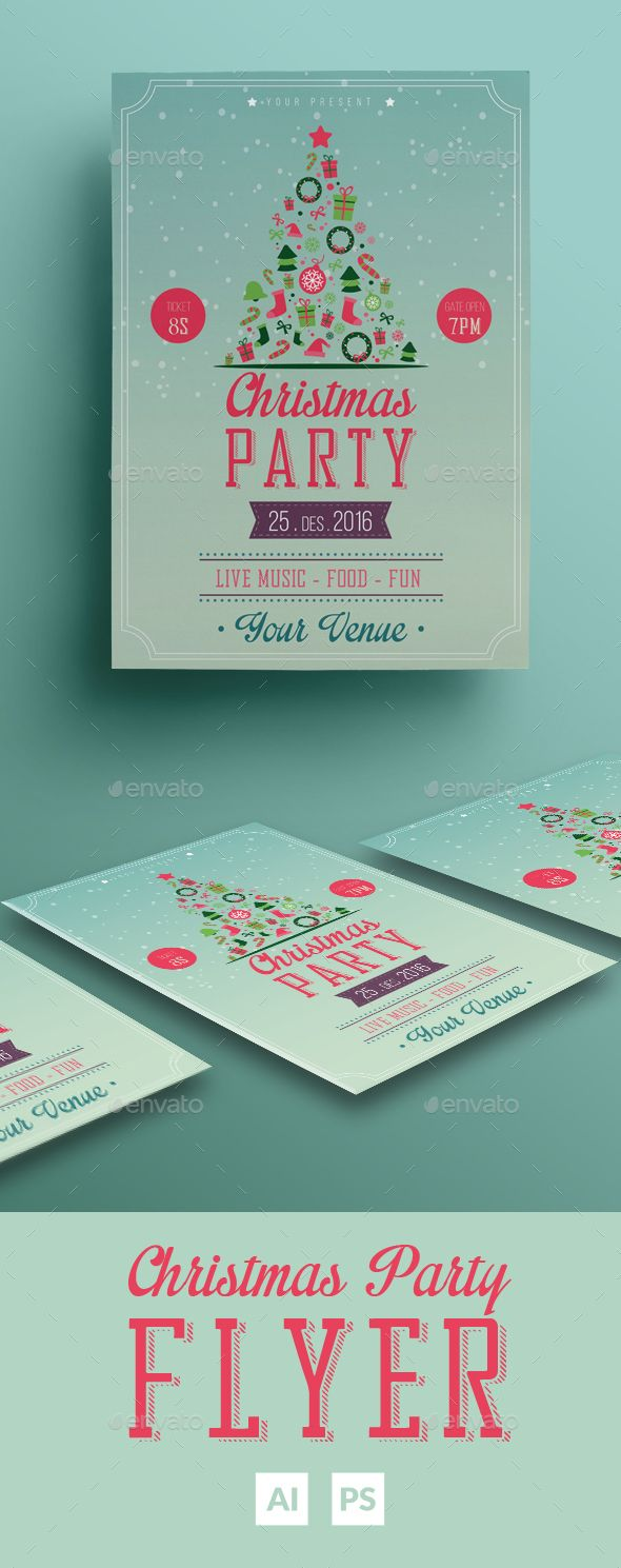 Christmas Party Flyer  Party Flyer Flyer Template And Ai Illustrator