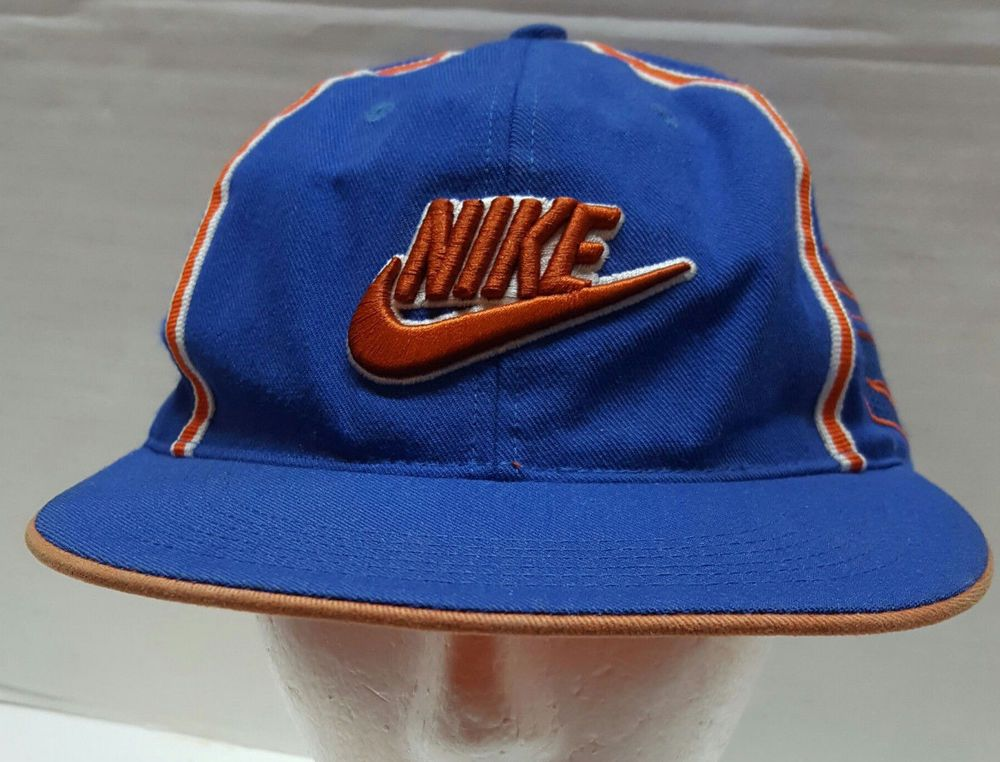07eb7cf1faba5 Nike Air Swoosh Hat Snapback Blue Orange Cap One Size Fits All Vintage 90s   Nike  Trucker