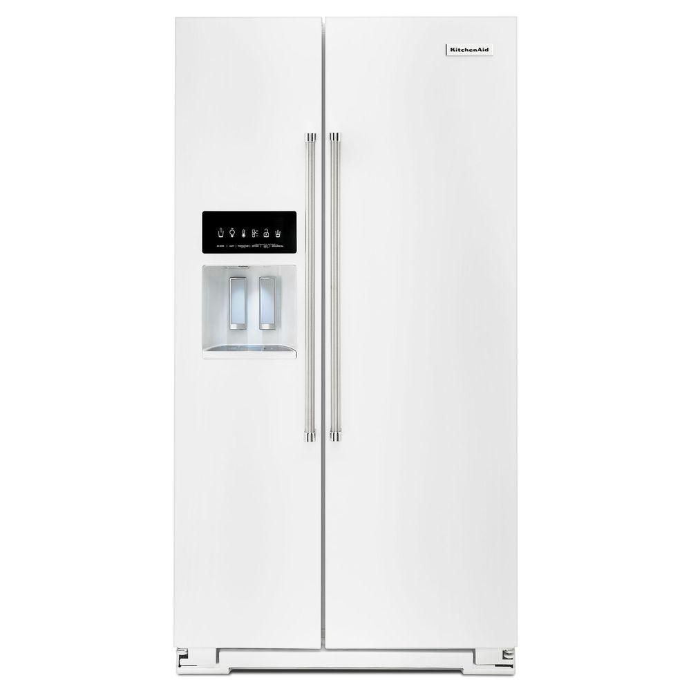 Kitchenaid 248 cu ft side by side refrigerator in white