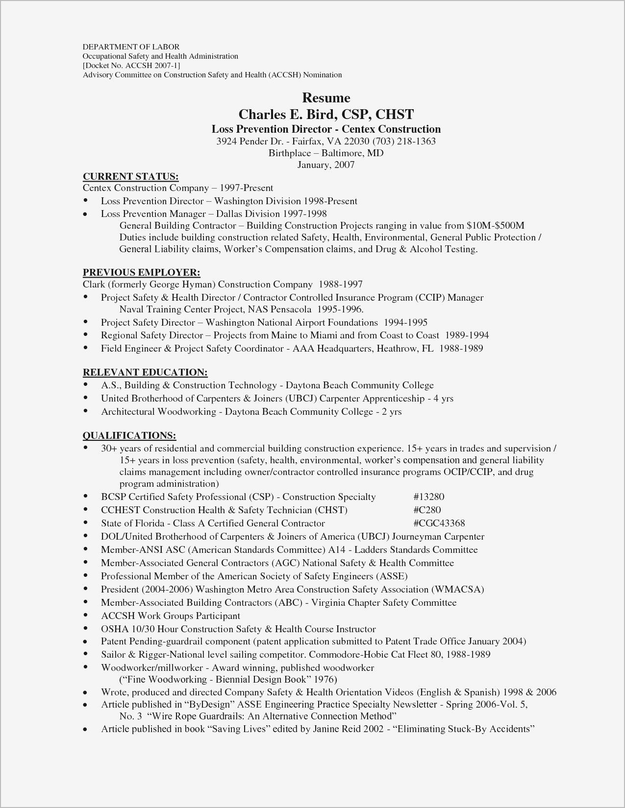 21 Best Of Construction Resume Sample Construction Resume Sample