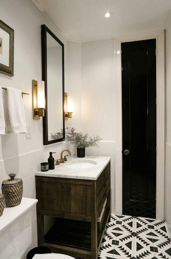 bathroom  small bathroom  wood vanity  aztec floor
