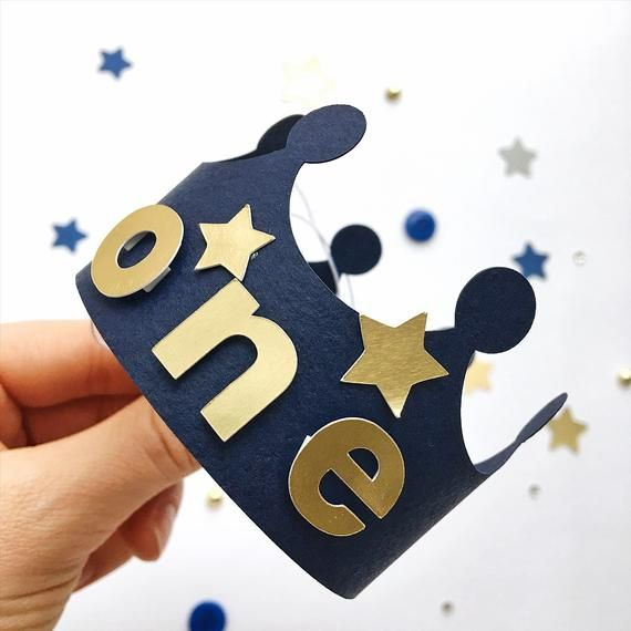Twinkle Twinkle Little Star Crown Baby Boy 1st Birthday Crown Navy Blue Gold Moon Star First Birthday Decorations Cake Smash MS011
