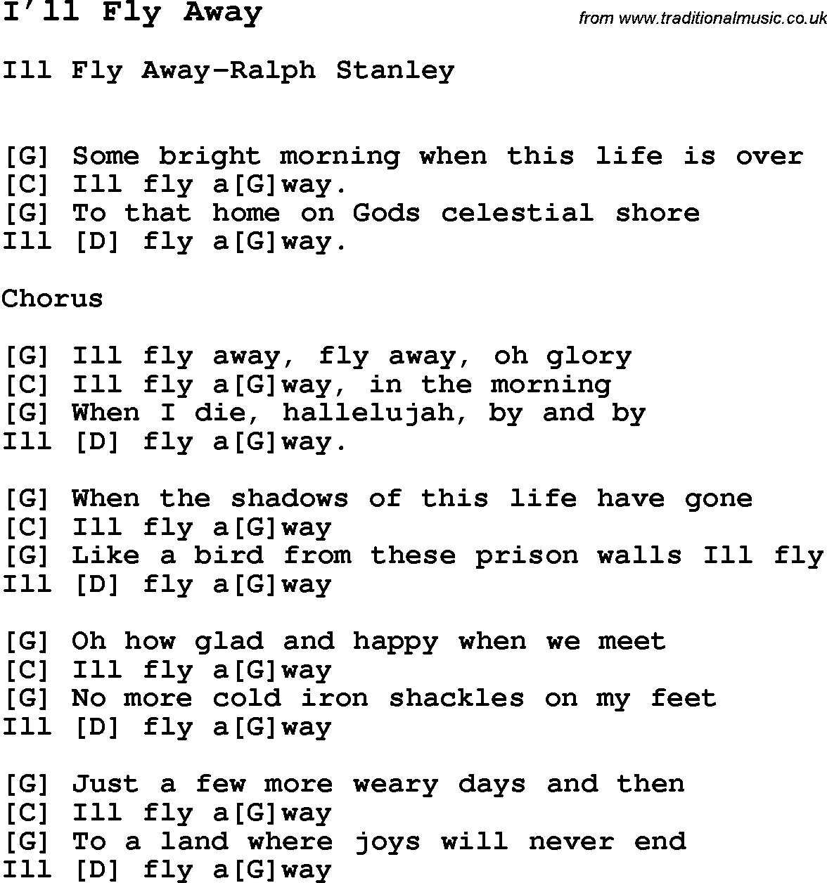 song i ll fly away with lyrics for vocal performance and accompaniment chords for ukulele. Black Bedroom Furniture Sets. Home Design Ideas
