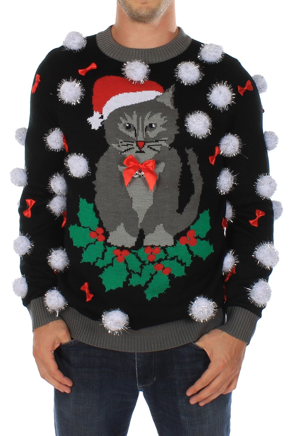 Men's Ugly Cat Sweater with Bells | Wreaths, Ugliest christmas ...