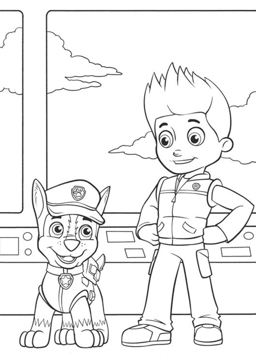 Ryder and Chase at the Command Post | Paw patrol coloring, Paw ...