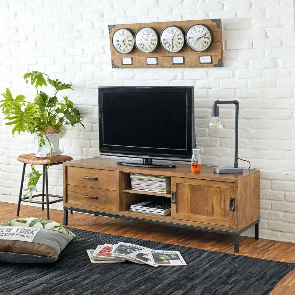 Meuble Tv Hipster 1 Porte 2 Tiroirs En Manguier Massif Et Metal Noir Meuble Tv Maisons Du Monde Mobilier De Salon Meuble Tv Armoire Tv