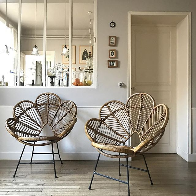 Vintage Rattan Flower Chairs Home Decor Decor Home