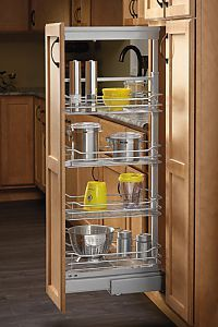 Enhance Functionality And Preserve A Stylish Image With The Rev Shelf Premiere Chrome Wire Pullout Pantry Available In Plentiful Selection Of Sizes For
