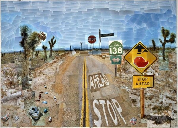 David Hockney, Pearblossom Highway, 11-18 abril 1986 # 1 (Pearblossom Highway, 11-18 abril 1986 # 1), colagem fotográfica, 119,4 x 163,8 centímetros, o Museu J. Paul Getty, Los Angeles. Doação © David Hockney David Hockney. Foto: Prudence Cuming Associates