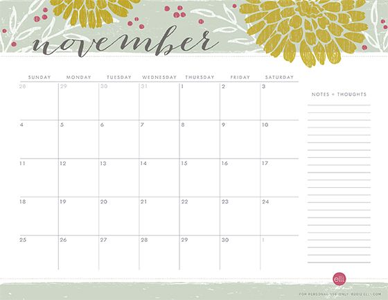 November Calendar Template Free Printables Pinterest November