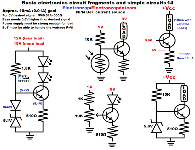 Basic Electronics Circuit Fragments And Simple Circuits 14 Npn Bjt Current Source Using Zener Diodes Trimpot Potentiometer And Light Dependent Resistor Ldr Diag Basic Electronic Circuits Simple Circuit Electronics Circuit