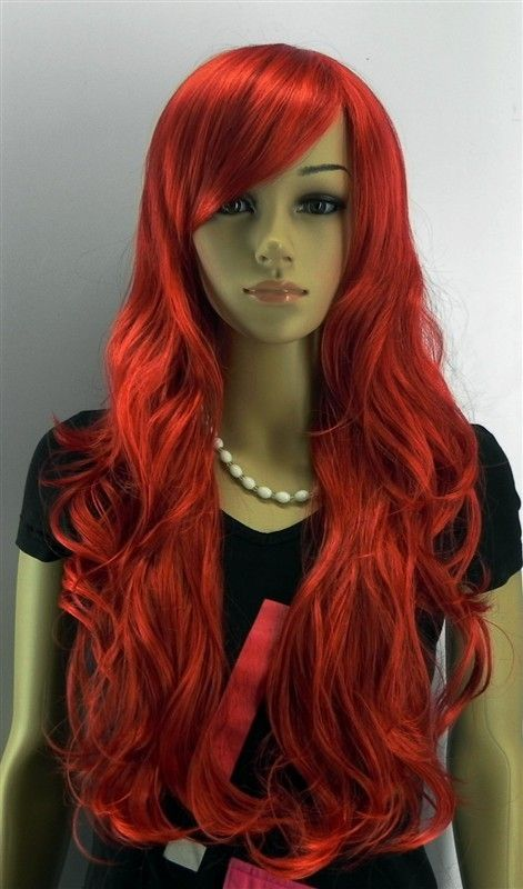 Hot Long Red Curly Wavy Hair Wigs Cosplay Wig Full Hair